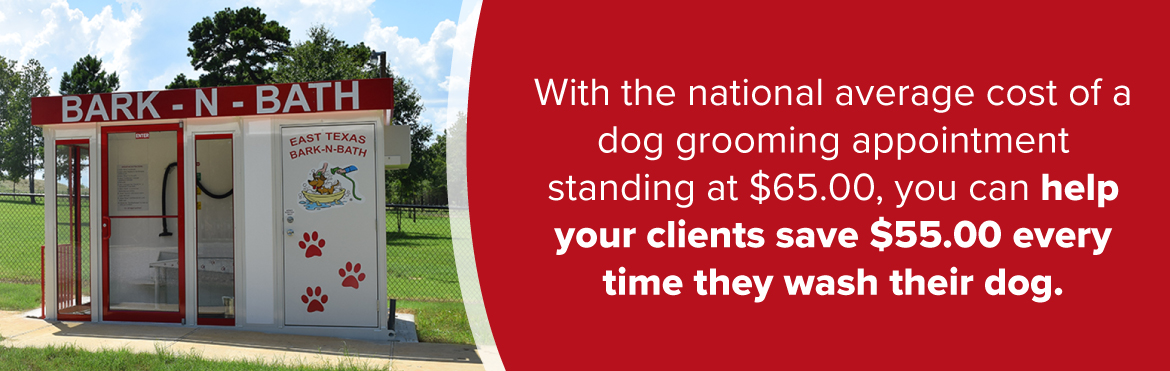 with the national average cost of a dog grooming appointment standing at $65, you can help your clients save $55 every time they wash their dog